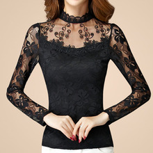 2016 New Fashion Plus Size Slim Sexy Black White Lace Flower Hollow Out Long Sleeve Autumn Tops Tee T Shirt Women Tshirt Femme