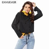 Enyuever Autumn Women Hoodies Black Crop Top Hoodie Long Sleeve Jumper Hooded Pullover Coat Casual Sweatshirt Sudaderas Mujer