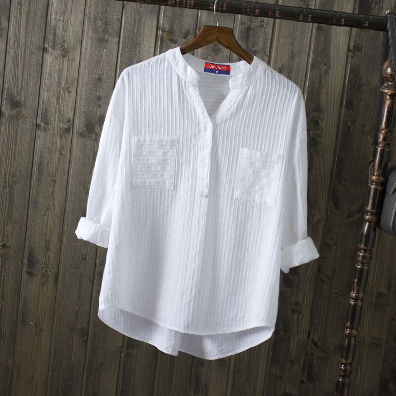 aliexpresscom buy dioufond white cotton shirt long