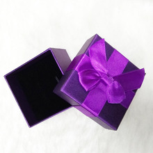 (Only Box for sale) Size 6.5*6.5*5 cm High Quality Purple Paper Gift Boxes for Ring/earrings/pendant/2pcs sets Jewelry box gallego fosfomycin paper only