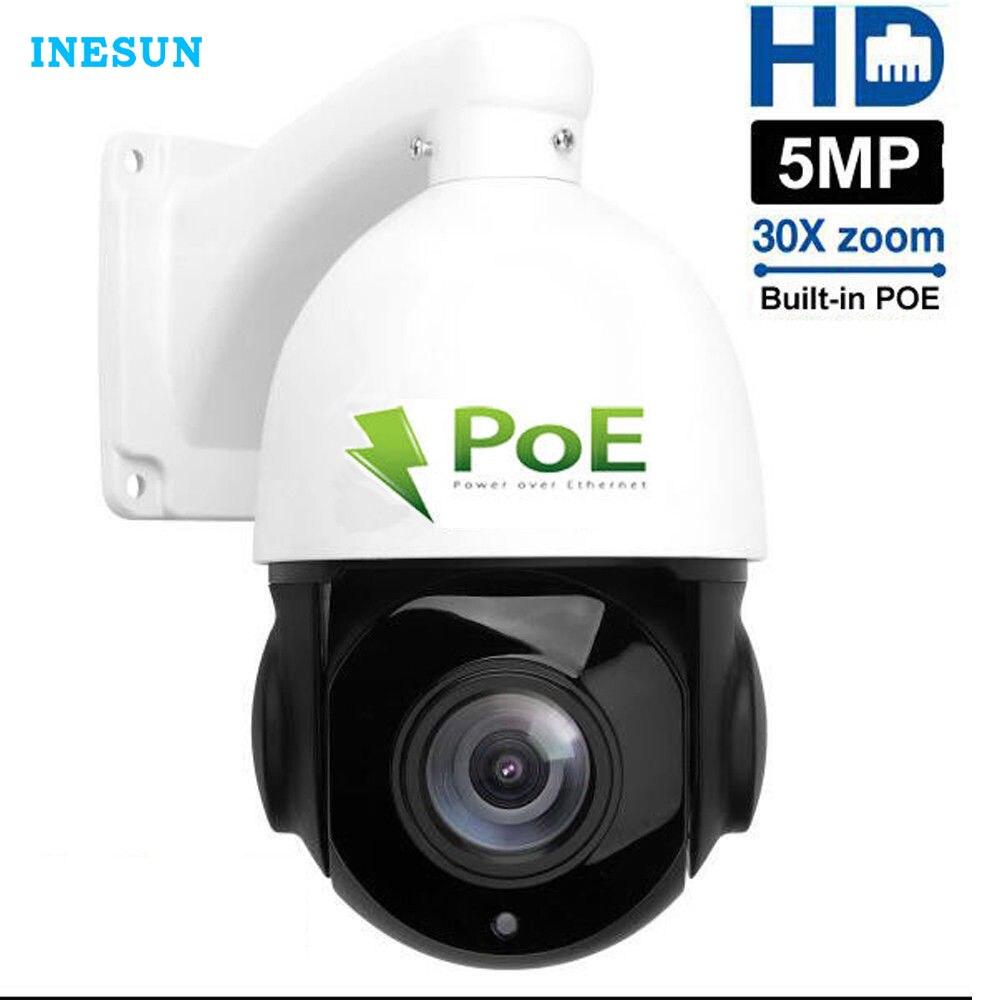 Inesun 4 Polegada PoE IP PTZ Câmera HD Super 5MP 2592x1944 Zoom Óptico de 30x Speed Dome Ao Ar Livre À Prova D' Água câmera 80 m Visão Nocturna do IR