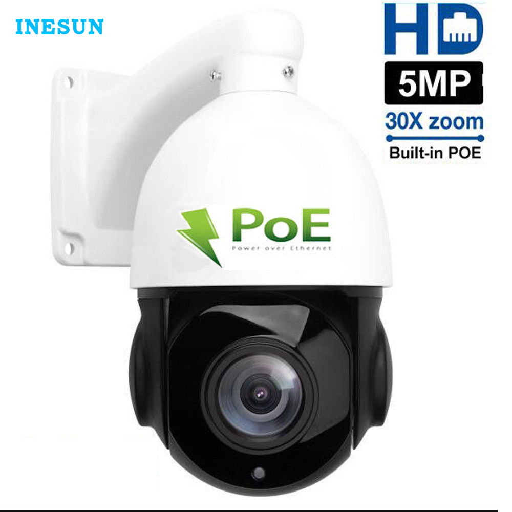 Inesun 4 zoll PoE IP PTZ Kamera Super HD 5MP 2592x1944 30x Optische Zoom Im Freien Wasserdichte Speed Dome kamera 80 mt IR Nacht Vision