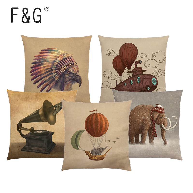 Retor  Elephant Pillow Case Cotton Linen Sofa Throw Cushion Cover Home Decor