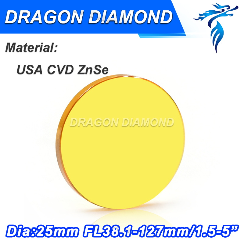 Free Shipping USA imported ZnSe material 25mm dia co2 laser lens focus length 38.1 50.8 63.5 76.2 101.6 127mm for cnc machine free shipping high quality usa znse co2 laser focus lens dia 15mm focal length 50 8mm for trotec speedy 100 gcc co2 laser machin
