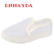 ENMAYDA New Fashion 2016 Spring & Autumn Flats Shoes Woman Size 33-44 Loafers 2 Colors White Shoes Round Toe Flats Casual Shoes