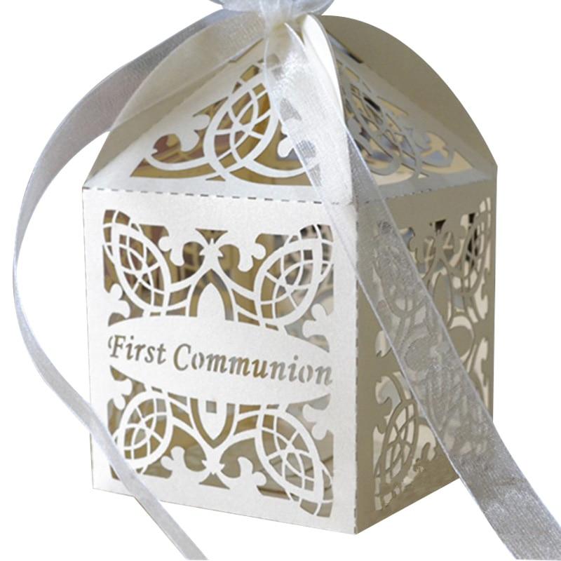 Wedding Door Gift: Cross Style Custom Party Favor Box First Communion