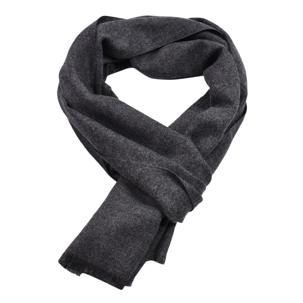 KLV Men's Winter Warm Solid Color Cashmere Casual Long Soft Neck Scarf Black Gray Red