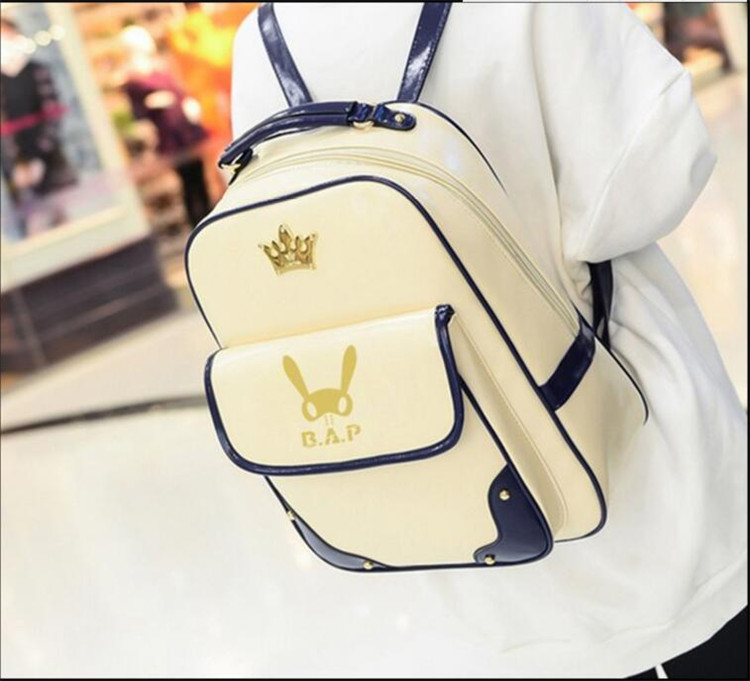 Kpop 2016 B.a.p Fashion Korea Backpack Imperial Crown Mark B.a.p Bronzing Logo Pu Mountaineer Mountain Tourism Canvas K-pop Delicious In Taste