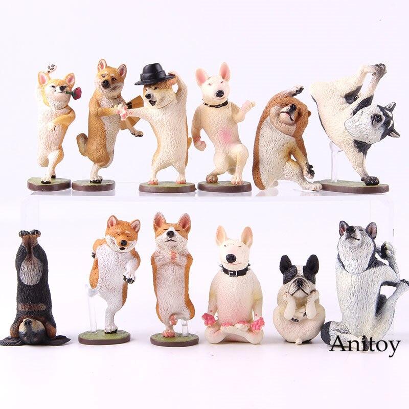 <+>  Жизнь животных Танцы Йога Собака Фигурку Корги Пемброк ПВХ Коллекционная Модель Игрушки 6 шт. / Комп ★