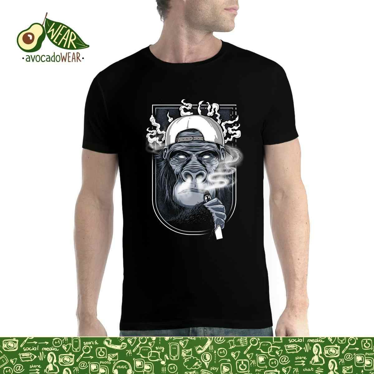 Monkey Cigarette Vaping Smoke Mens T-shirt XS-5XLStreetwear Funny Print Clothing Hip-Tope Mans T-Shirt Tops Tees Fashion Summer
