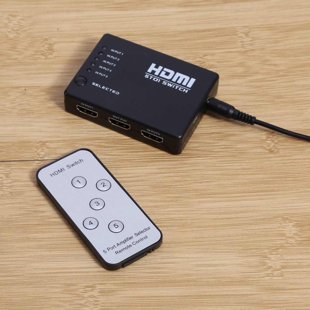 Switch Tool Newest Mini 5 Ports 1080P Video HDMI Switch Switcher HDMI Splitter with IR Remote splitter box for HDTV DVD for PS3