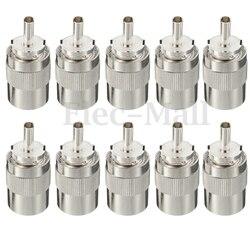 10 sztuk złącze UHF męski PL259 wtyk lutowniczy RG8 RG213 LMR400 7D-FB kabel srebrny