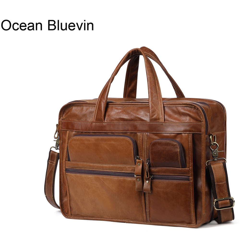 OCEAN BLUEVIN Genuine Leather Men Briefcases Casual Business Bags Tote Bag Large Handbags Shoulder Bags Crossbody Bag Men Gift ograff genuine leather men bag handbags briefcases shoulder bags laptop tote bag men crossbody messenger bags handbags designer
