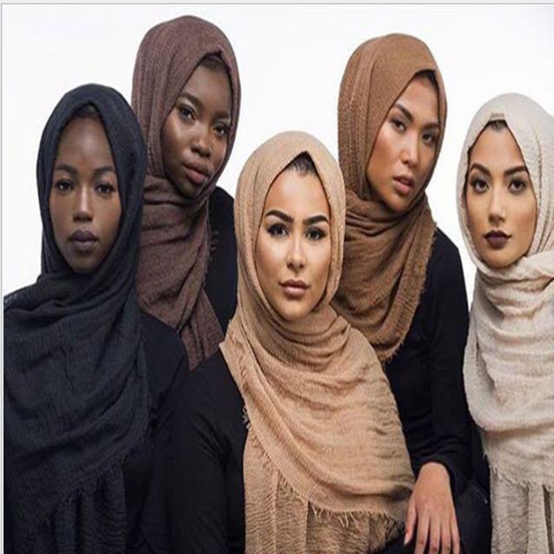 Soft Cotton Hijab Scarf Women Solid Shawls And Wraps Big Pashmina Pure Color Head Scarves Winter Echarpe Femme Hijabs 66 Colors