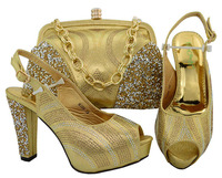 Newest Gold Color Italian Shoes with Matching Bags Shoes and Handbag African Set 2018 African Women's Sets Italian Shoes M006