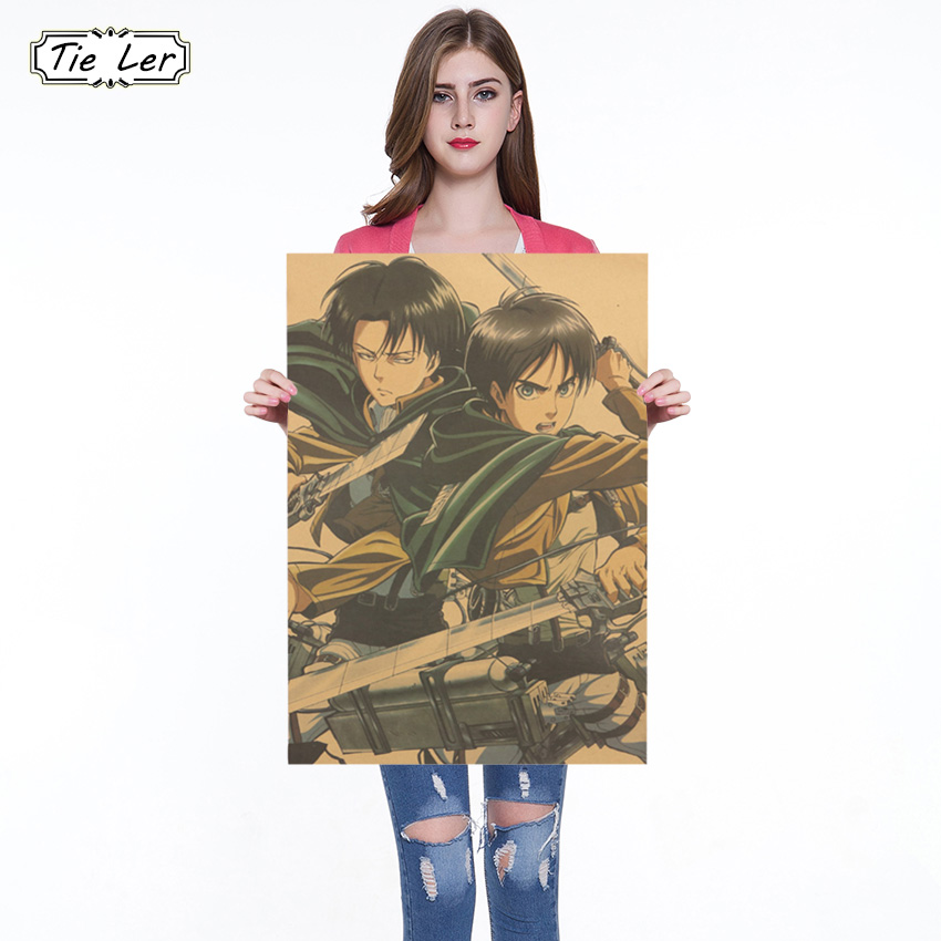 Japanese Cartoon Comic Attack on Titan B Style Kraft Paper Poster Bar Cafe Decorative Paintings Wall Sticker