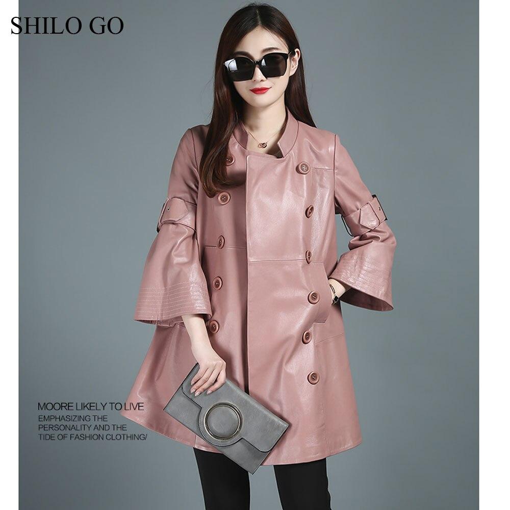 SHILO GO Leather Trench Womens Autumn Fashion sheepskin genuine leather long coat lapel double breasted flare sleeve skirt coat
