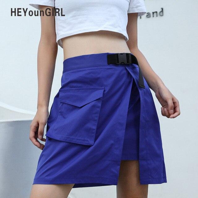206d042486 HEYounGIRL Casual Streetwear mujeres A-line falda elástico alta cintura  Faldas Mujer estilo coreano verano