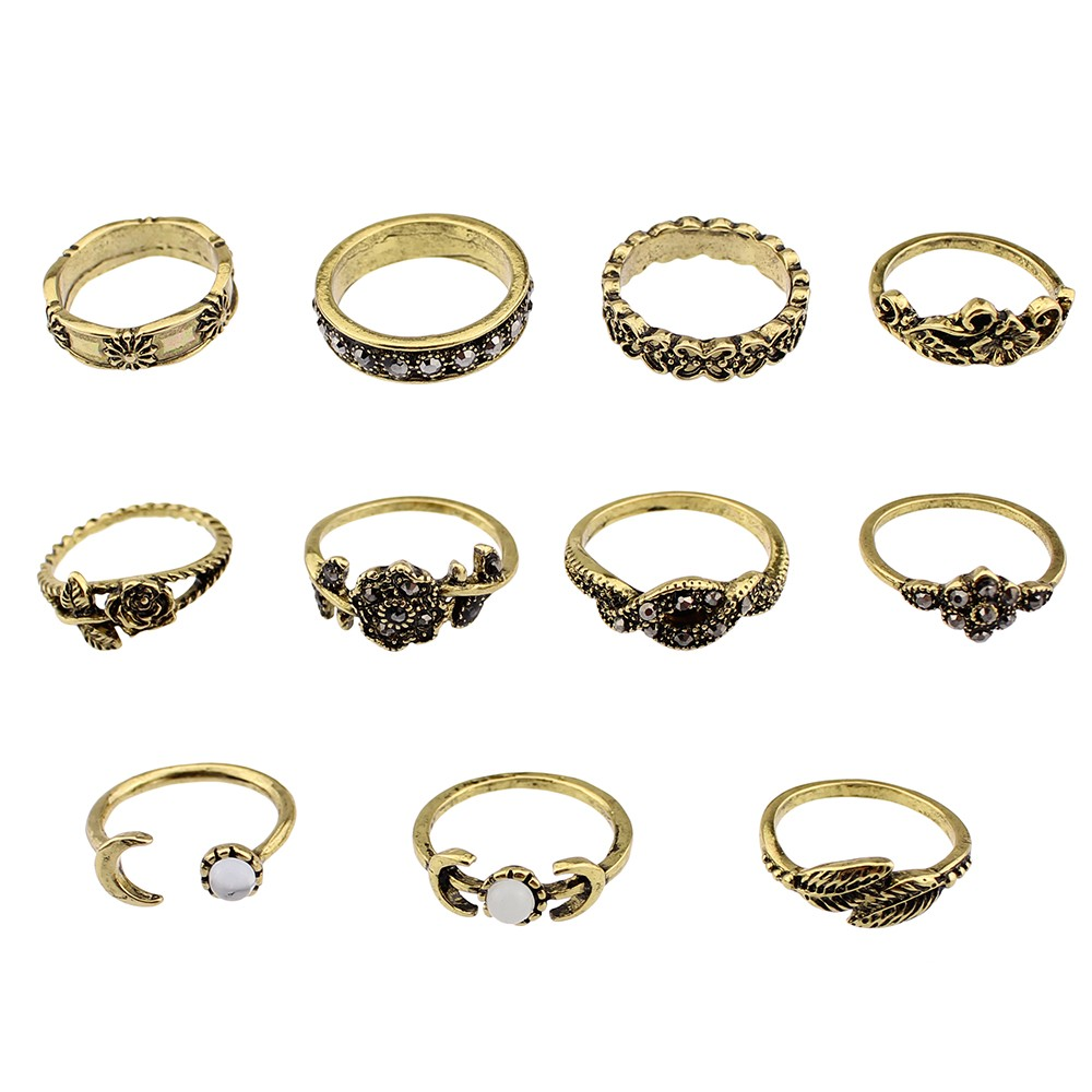 HTB14OgxOFXXXXcBXXXXq6xXFXXX6 11-Pieces Boho Chic Spirituality Silver Plated Antique Stackable Ring Set - 9 Sets