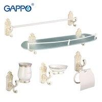 Gappo 5PC Set Bathroom Accessories Towel Bar Soap Dish Toothbrush Holder Paper Holder Glass Shelf Bath