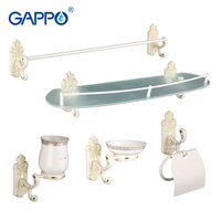 Gappo 5PC Set Bathroom Accessories Towel Bar Soap Dish Toothbrush Holder Paper Holder Glass Shelf Bath