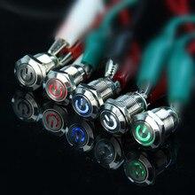 Автомобильный компутер 12 мм, 3 в, 5 В, 12 В, 220 В, Angel Eye, светодиодный кнопочный переключатель питания, самосброс, металлический переключатель, нормально открытый