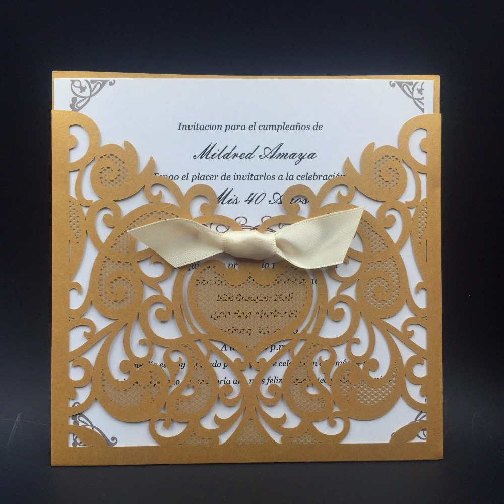 ٩(^‿^)۶30Pcs Laser Cut Wedding Invitations Card Birthday Cards for ...