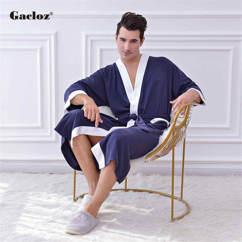 Gacloz 男性高級バスローブロング着物サウナバスローブワッフルパジャマネグリジェ