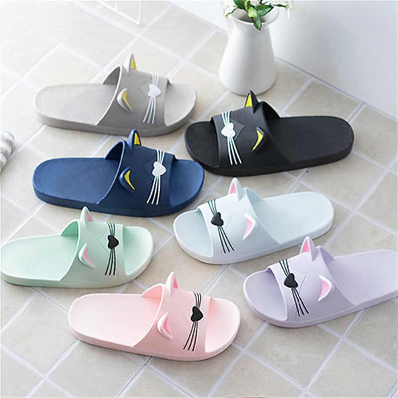 Mulheres Chinelos de verão Gato Bonito Dos Desenhos Animados Do Banheiro Interior Chinelo Animais de Slides Flip Flops Sapatos Chinelos Interior Macio