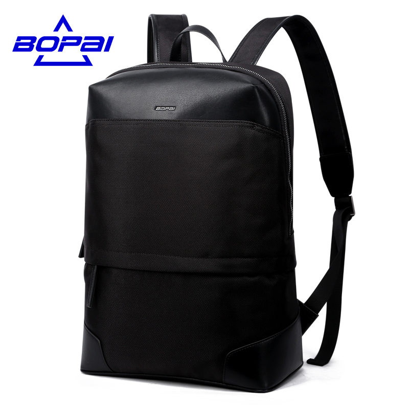 BOPAI Fashion Waterproof Nylon Men Backpack Zipper 15.6 Black Laptop Backpack Hot Student School Bag Men Bag Travel Bags new gravity falls backpack casual backpacks teenagers school bag men women s student school bags travel shoulder bag laptop bags