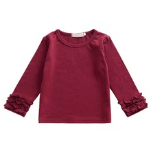 Fashion Cute Candy Color T-shirt for Girls Long Sleeves Ruffles Cotton Baby Girls T-shirt Casual Shirts Tops Baby Kids Clothes