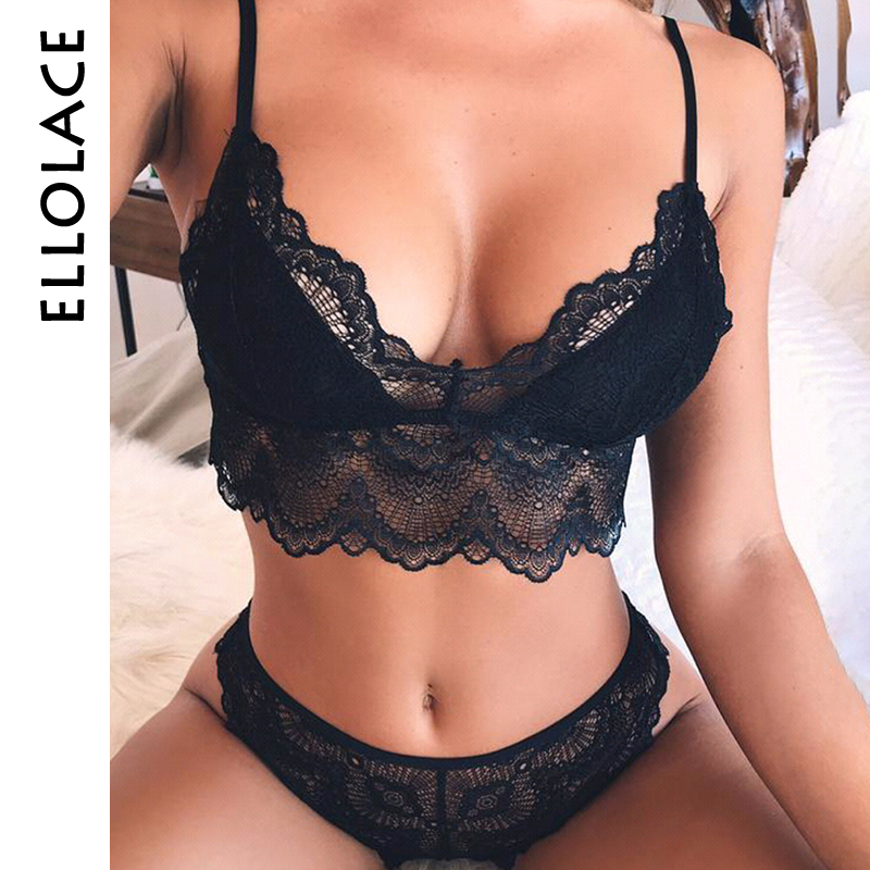 Ellolace Sexy Lingerie Set Women Lace Bra Set Push Up Nightwear Sexy Solid Black Ladies Underwear New Set Lace Bra And Panty Set