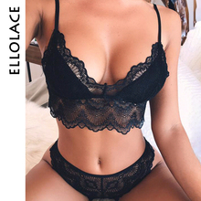 Ellolace sexy lingerie set women lace bra push up nightwear solid black ladies underwear new and panty