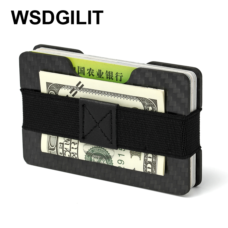 Carbon Fiber Wallet Slim Card Holder RFID Anti Thief Men Mini Money ...