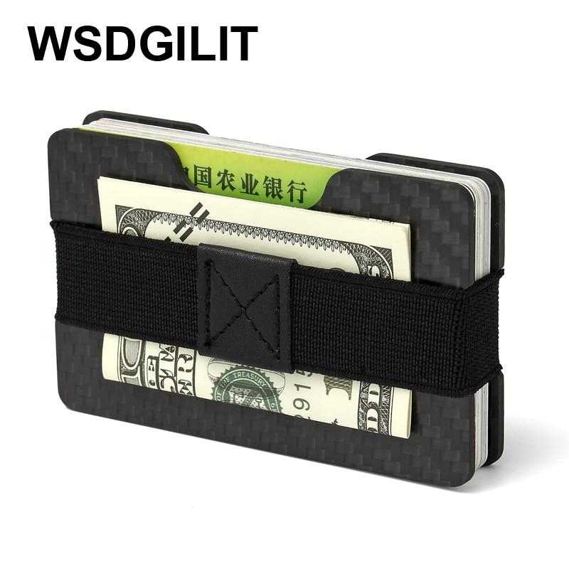 Kolfiber RFID-kort plånbok Slim-korthållare Anti-Thief Men Mini Pengeklämma Kort Ärm Kreditkortsinnehavare