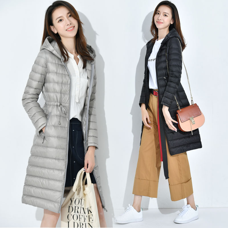 New Autumn Winter Light Thin   Down   Jackets Women Long Slim Hooded   Coats   Plus Size Warm Female White Duck   Down     Coats   Parka YP0866