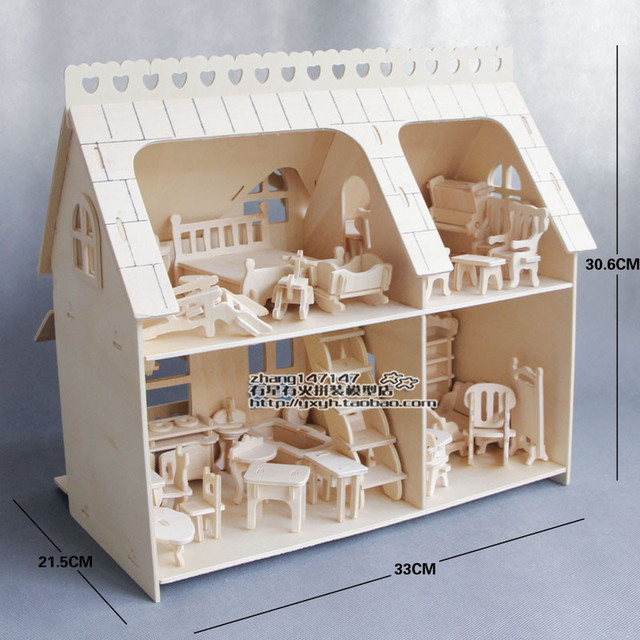Assembled Model Diy Wool Small House Furniture Model Porch Big 34  Pcsfurniture And One Big House
