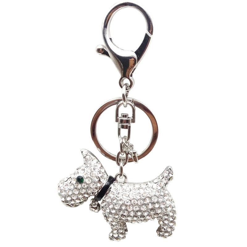 Beadztalk Crystal Rhinestone Keyring Key Holder Purse Bag Keychains Puppy  Scottish Dog Gift Gold and Silver Color b674411ac0e5
