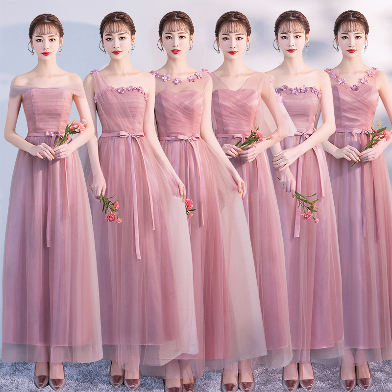 Plus Size Bridesmaids Dresses Elegant  Wedding Guest Long Party A-Line Tulle Formal Sister Prom Champagne Junior Pink Dress