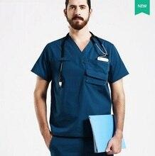 New Hospital Doctor Nurse Woman&Man Short-sleeve Medical Clothing Surgical Isolation Medical Uniform Scrub Sets,