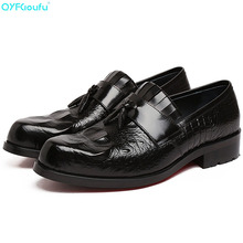 New High Quality Genuine Leather Men Shoes Lace-Up Crocodile Pattern Business Dress Men Tassel Oxfords Formal Shoes