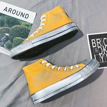 Fashion Mens Casual Canvas Shoes High Top Yellow Green Men Flat Shoe Footwear