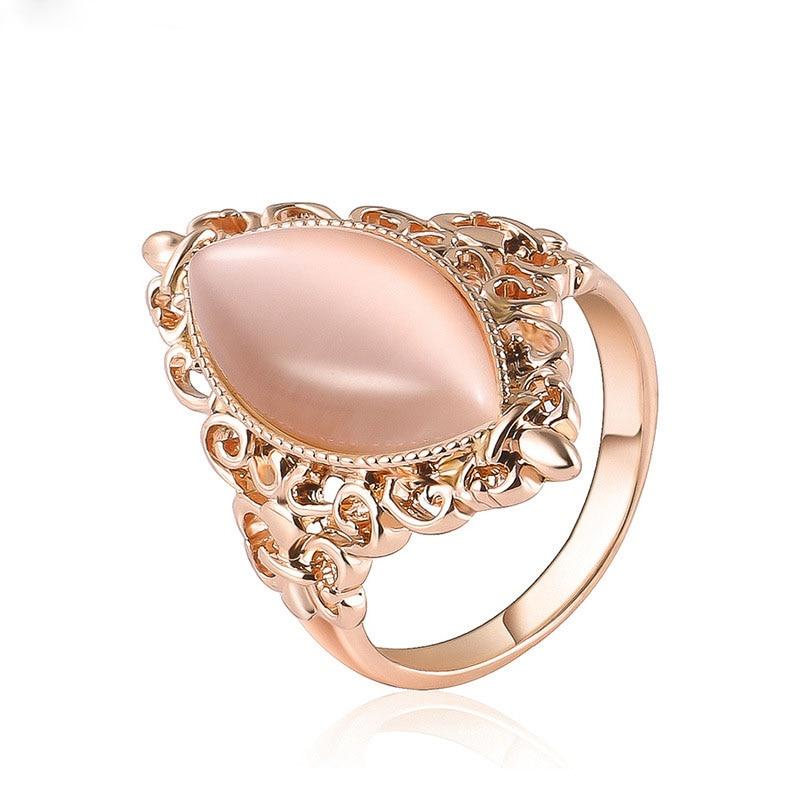 Shuangr Charme Rosa Opal Kristall Schmuck Versprechen Engagement Ringe Für Frauen Rose Gold Farbe Hohl Muster Hochzeit Ring Verkaufsrabatt 50-70%