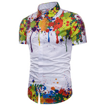 Splash Ink Print Hawaiian Shirt Men Brand New 3D Short Sleeve Chemise Homme Summer Casual Beach Floral Camisa Hombre