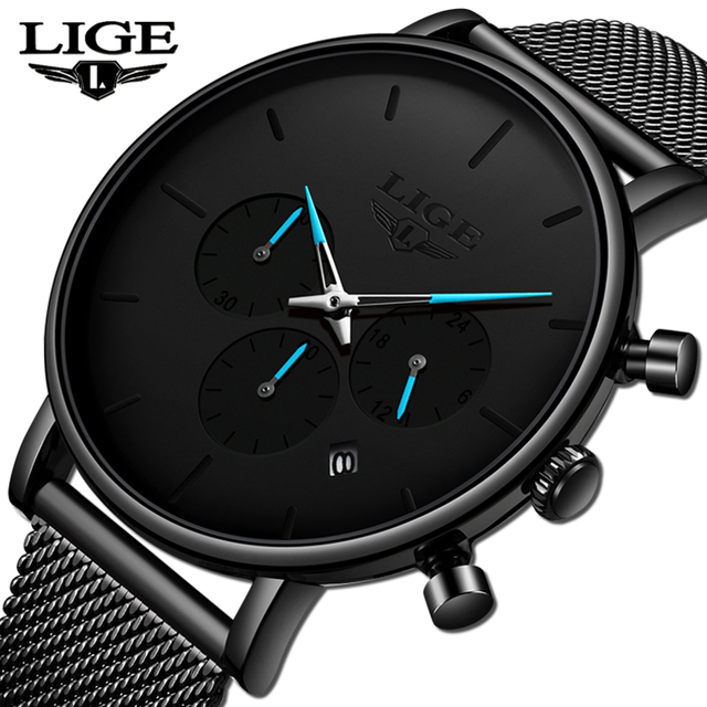 LIGE Fashion Watch Men Waterproof Slim Mesh Strap Minimalist Black Wrist Watches Men Quartz Clock Sports Watch Relogio Masculino