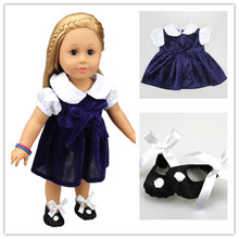 American Doll Clothes Accessories 1Pcs Dress +1Pair Shoes