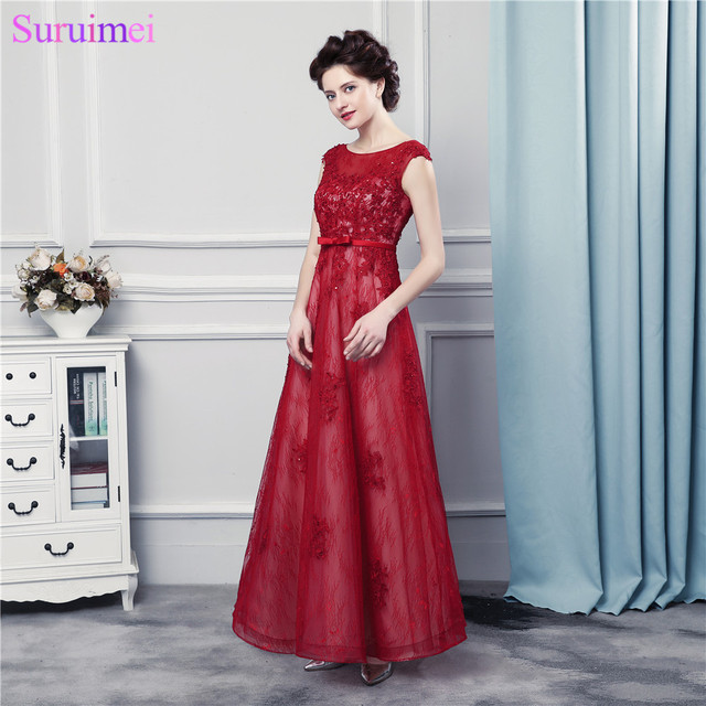 58089d0681 Cap Sleeves Long Prom Dresses With Pearls Lace Applique Bow Knot Red Prom  Gown Free Shipping-in Prom Dresses from Weddings & Events on Aliexpress.com  ...
