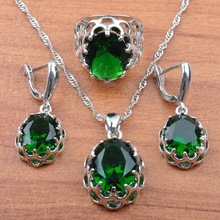 Ladies Silver 925 Jewelry Sets 2019 Green Stone Cubic Zirconia For Women Wedding