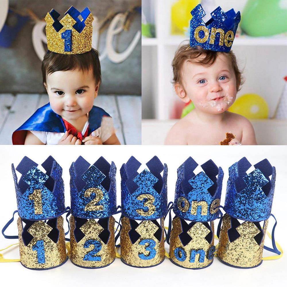 1PC Boy Head Accessories Hairband Baby Elastic Brithday Number Crown Headwear Opaska Dla Dziewczynki Infant Headbands