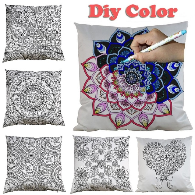 Incredible Us 10 79 10 Off Cushion Cover Diy Color Graffiti Mandala Pillow Cover Home Decoration Car Sofa Decorative Pillowcase Painting Secret Garden 45Cm In Download Free Architecture Designs Grimeyleaguecom